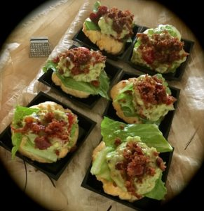 BLT with Guacamole on a Cheddar Cheese Cookie